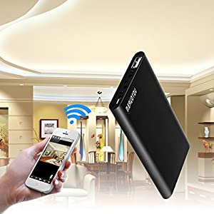 MEAUOTOU Wi-Fi Hidden Camera Power Bank Full HD 1080P Spy Camera 2000mAh Portable Charger LED Lights Motion Detection Alarm Wireless IP Security Camera Nanny Cam Pure Black