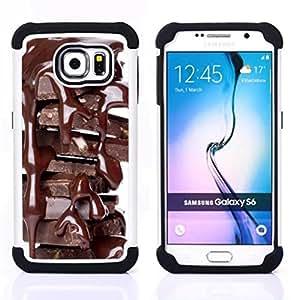 /Skull Market/ - Chocolate For Samsung Galaxy S6 G9200 - 3in1 h????brido prueba de choques de impacto resistente goma Combo pesada cubierta de la caja protec -