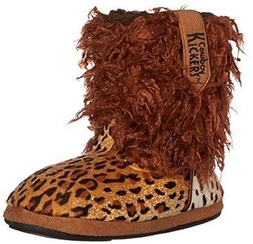 Cowboy Kickers Wooly Cheetah Slippers Girls Medium 12 to 2 Brown