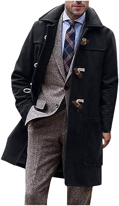 INVACHI Mens French Woolen Coat Slim Fit Winter Trench Coat Gentlemen Long Overcoat Pea Coat