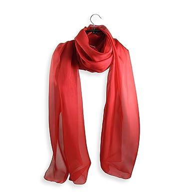 La Fabrique d écharpe ETOLE SOIE UNIE ROUGE  Amazon.fr  Vêtements et ... 47e093c25bd