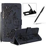 Strap Case for Samsung Galaxy Note 9,Flip Wallet Leather Cover for Samsung Galaxy Note 9,Herzzer Premium Pretty Elegant [Dark Blue Butterfly Flower Design] PU Leather Fold Stand Card Holders Smart Case Cover for Samsung Galaxy Note 9 + 1 x Free Black Cellphone Kickstand + 1 x Free Black Stylus Pen