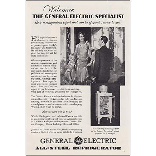 1930 General Electric Refrigerators: Specialist, Refrigeration, General Electric Print Ad 1930 General Electric Refrigerator