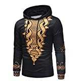Londony▼ Clearance,Men's Loose Fit Pullover Winter Crewneck Long Sleeve Print Adult Hooded Sweatshirt Outwear