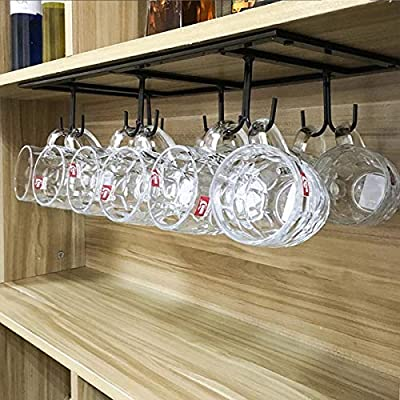 "FURVOKIA Creative Mug Holder Under Cabinet Hooks,Upside Down Coffee Cups Hanging Rack,Organizer for Ties and Belts Storage Shelves (Black) - Mug Rack Size: 20''L x 9''W x 2.75 ""H inch. the coffee rack is fine iron material,Fine workmanship,quality assurance Strong Practicality: Not only use in kitchen but also for ties, belts, towels, gloves, scarves and hand bags hanging in your cabinet,a strong load-bearing Space Saving: this hanging rack with 12 hooks can easy dry up your mugs and kitchenware, such as mugs, cups, dish cloth, spatula, can opener, scissors, dish towel, etc - wall-shelves, living-room-furniture, living-room - 51KRJayxQKL. SS400  -"