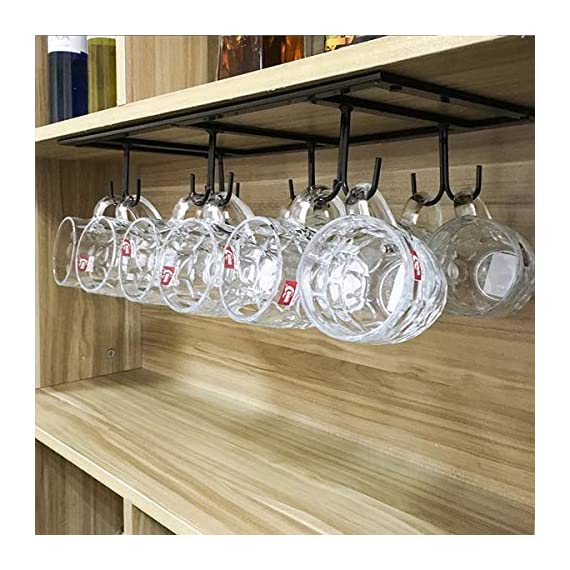 "FURVOKIA Creative Mug Holder Under Cabinet Hooks,Upside Down Coffee Cups Hanging Rack,Organizer for Ties and Belts Storage Shelves (Black) - Mug Rack Size: 20''L x 9''W x 2.75 ""H inch. the coffee rack is fine iron material,Fine workmanship,quality assurance Strong Practicality: Not only use in kitchen but also for ties, belts, towels, gloves, scarves and hand bags hanging in your cabinet,a strong load-bearing Space Saving: this hanging rack with 12 hooks can easy dry up your mugs and kitchenware, such as mugs, cups, dish cloth, spatula, can opener, scissors, dish towel, etc - wall-shelves, living-room-furniture, living-room - 51KRJayxQKL. SS570  -"