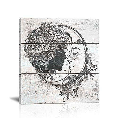BOLUO Sun and Moon Wall Art Canvas Painting Hippie Home Decor Rustic Framed Prints Pictures Indian Girl Room Black and White 12x12 Inch -