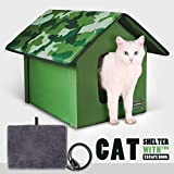 Outdoor/Indoor Heated Cat House, Petfactors Cat Bed with 7-Level Controller DC Low Voltage Safe Electric Heated Pad, Pet House Cat Beds with Thermostat and Adapter - Camo Color, 22