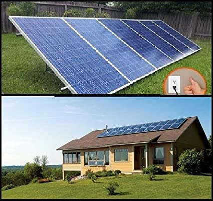 1 5KW PluggedSolar with 1500Watt Crystalline Solar Panels and Micro Grid  Tie Inverter, Plug into Wall, 120V or 240V AC Outlet, Utility Approved  Micro