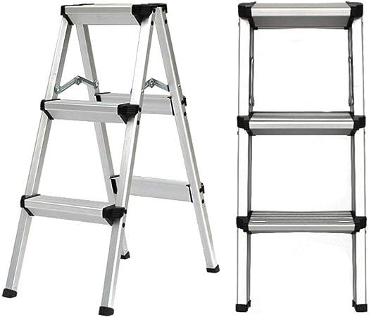 CXLO Escaleras de Aluminio Plegables, 2/3/4/5 peldaños, Escalera Robusta y Resistente, Escalera portátil Ligera, Taburete, Blanco: Amazon.es: Hogar
