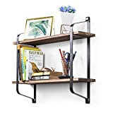 #4: Love-KANKEI Rustic Floating Book Shelves Wall Mounted, Industrial Wall Shelves for Pantry Living Room Bedroom Kitchen Entryway, 2 Tier Wood Storage Shelf Heavy Duty