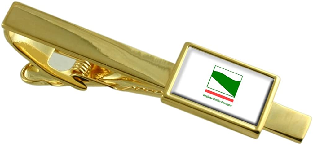 Select Gifts Emilio-Romanjo Region Italy Flag Gold-Tone Tie Clip Engraved Personalised