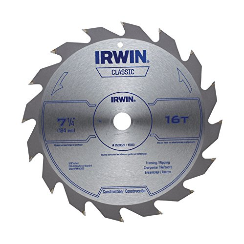 IRWIN Tools Classic Series Carbide Corded Circular Saw Blades, 7 1/4-inch, 16T, .087-inch Kerf (25030ZR) ()