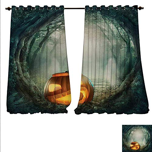 familytaste Blackout Draperies for Bedroom Drawing of Scary Halloween Pumpkin Enchanted Forest Mystic Twilight Party Art Blackout Window Curtain W84 x L96 Orange Teal.jpg]()