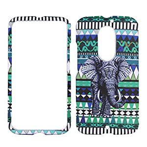 For Motorola Moto X 2nd Gen X+1 X2 (2014) Elephant on Blue Tribal Verizon , AT&T, U.S Cellular Hard Phone Case Snap-on Cover Protector Rubberized Frosted Matte Surface Hard Shells