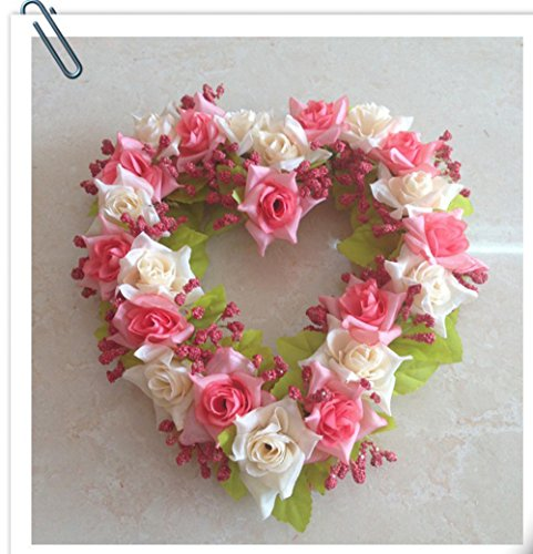 Yzakka Home Decorations Handmade Natural Wall Hanging Silk Floral Wreath Heart-shape Garland for Wedding Door Decor - Wreaths Floral Hanging