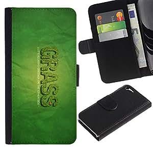 KingStore / Leather Etui en cuir / Apple Iphone 5 / 5S / Hierba Greener Otro Lado de la cita Weed divertido