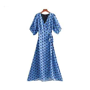 Women Dots Print Wrap Dress Cross V Neck Lantern Sleeve Sashes Retro Female Casual Midi Dresses Chic A Line Vestidos QB131 at Amazon Womens Clothing store: