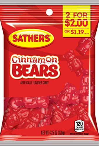 Sathers Gummy Bears Candy, Cinnamon, 4.25 Ounce (Pack of 12)