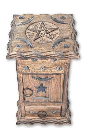 Nature's Enlightenment Pentacle Wooden Carved & Metal Chest- Tarot Cards, Crystals, Altar Supplies, Healing, Meditation, Gift Giving