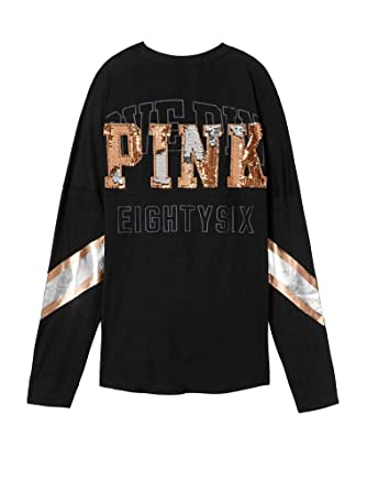 94b1ae2f753cf Victoria's Secret Pink New! Sequin Bling Varsity V-Neck Long Sleeve TEE at  Amazon Women's Clothing store: