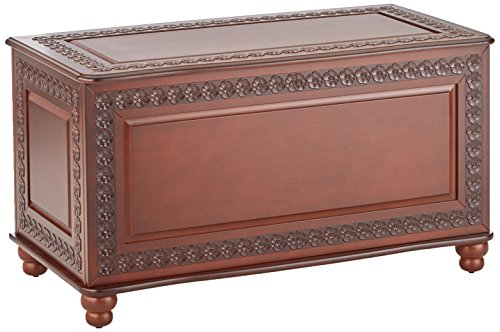 (Cedar Chest with Carving and Bun Feet Deep Tobacco)