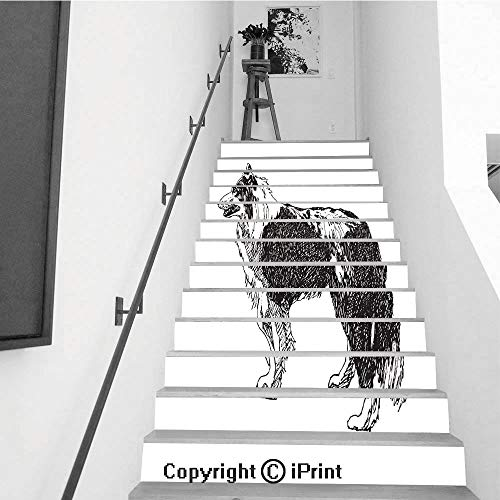 Stair Stickers Wall Stickers,13 PCS Self-Adhesive,Stair Riser Decal for Living Room, Hall, Kids Room,Collie Rough Dog Vector