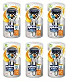 Gillette Fusion Proglide Flexball, Chrome Edition, 1 Razor with 2 Cartridges (6 Pack) + FREE Schick Slim Twin ST for Dry Skin