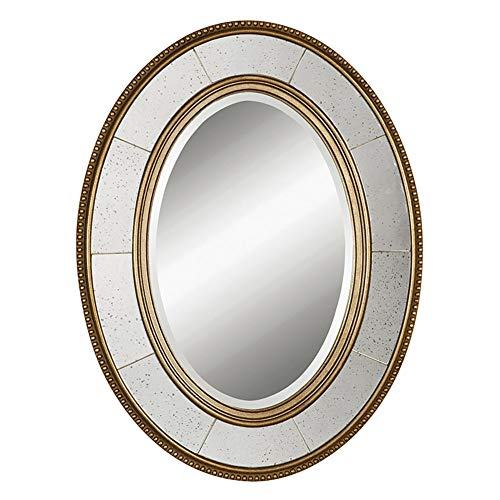 Z-jingzi Oval Beveled Hanging Wall Mirror Gold Circular Beaded Accent Wood Framed -