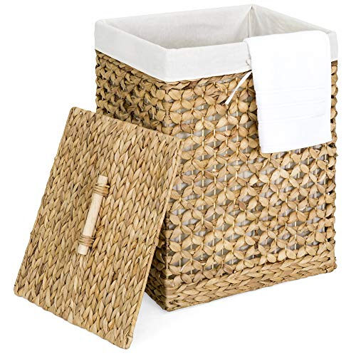 Large Natural Wicker - Best Choice Products Home Portable Decorative Woven Water Hyacinth Wicker Laundry Clothes Hamper Basket for Bedroom, Bathroom, Laundry Room w/Removable Liner Bag, Lid - Natural