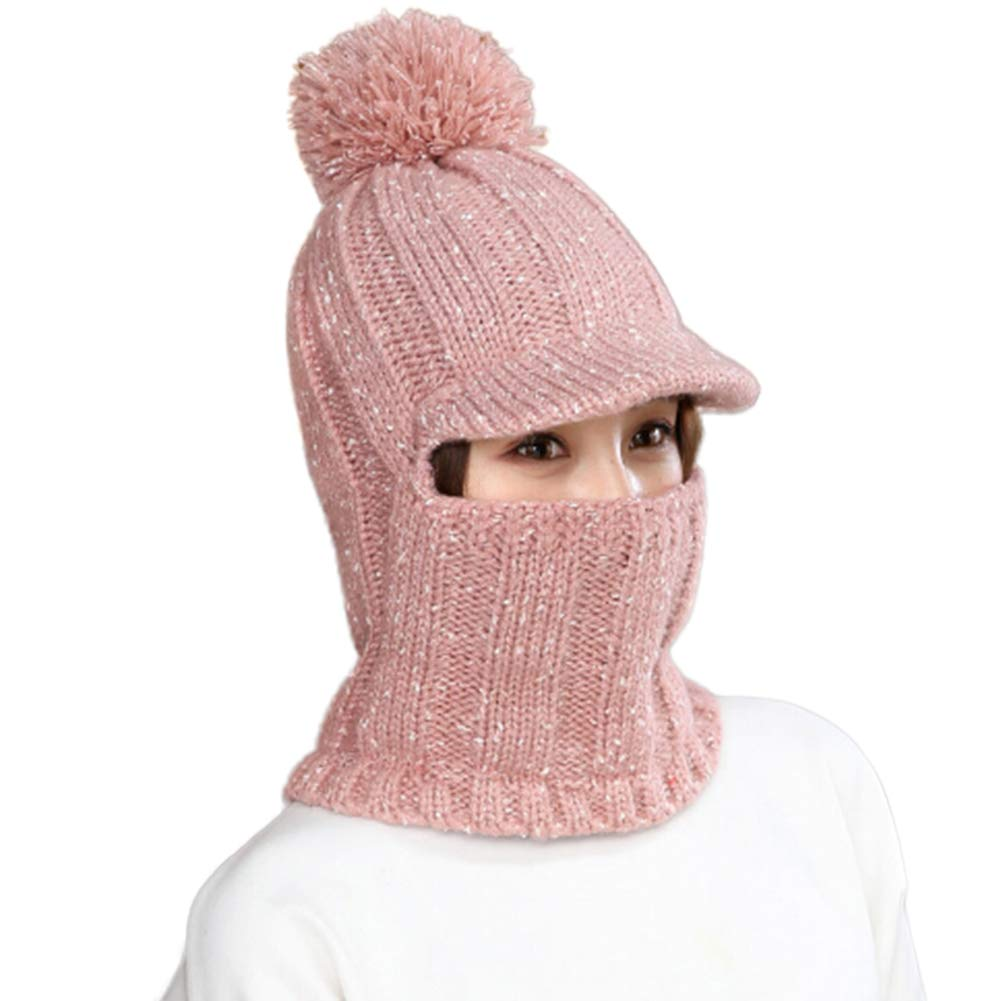 Amazon.com  Women Balaclava Mask with Pompon Windproof Face Mask Knitted  Neck Warmer Headcover Ski Mask for Winter Motorcycle 795e4d68f743