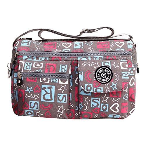 Wocharm Women Casual Handbag Travel Bag Messenger Cross Body Bag Shoulder Bag Purse Grey Letter