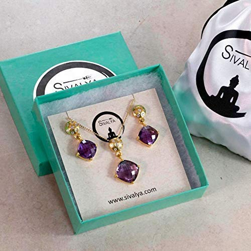 SIVALYA Amethyst Necklace and Earrings Jewelry Set in Gold Vermeil - Luxurious Gift Packaging Included - Awesome Gift for Women