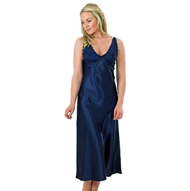 11499268b5 Ladies Long Satin Strappy Nightdress with Lace Details SZ 10 to 28 (26 28
