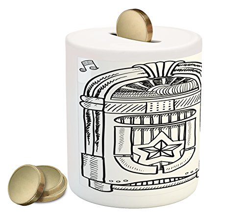 Ambesonne Jukebox Piggy Bank, Doodle Style Retro Music Box Notes Coins Long Play Vintage Sketchy Artwork, Printed Ceramic Coin Bank Money Box for Cash Saving, Black and White