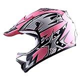 #8: WOW Youth Kids Motocross BMX MX ATV Dirt Bike Helmet Star Matt Pink