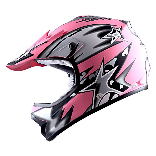 WOW Youth Kids Motocross BMX MX ATV Dirt Bike Helmet Star Matt (Bmx Atv)