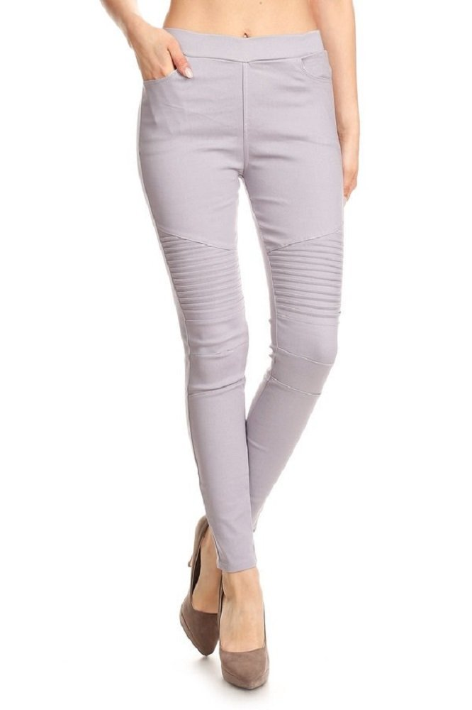 Jvini Women's Ultra Stretch Pull-on Moto Pleated Jegging Pants (Large, Grey)