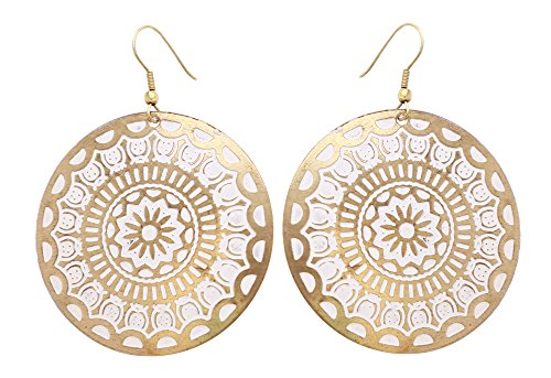 "2.5"" Round Hook Earrings in Brass with Floral Mandala Motifs - Golden Tone & Enameled White - Women Fashion Jewelry & Accessories – Gifts for Her by SouvNear"