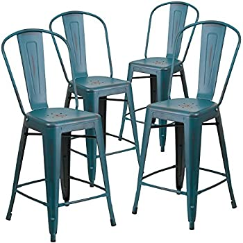 Amazon Com Flash Furniture 24 High Backless Distressed