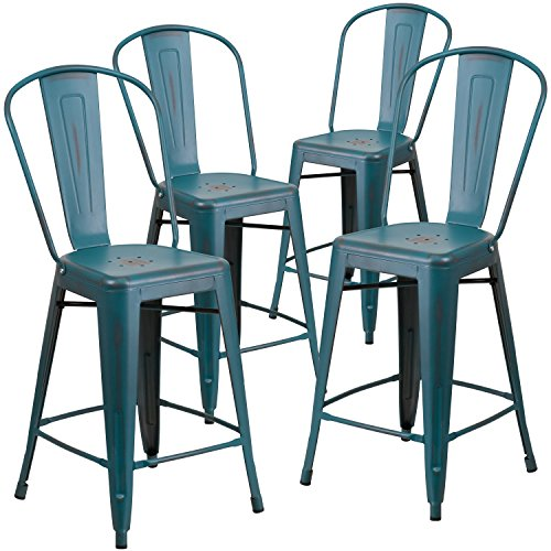 Flash Furniture 4 Pk. 24'' High Distressed Kelly Blue-Teal Metal Indoor-Outdoor Counter Height Stool with Back (24 With Counter Back Stool)