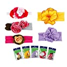 Bundle Monster 5pc Baby Cotton Stretch Pretty Rose Tulip Flower Hair Headband Mixed Color Lot for Girls / Fits 0-4 yrs Toddler- Set 2