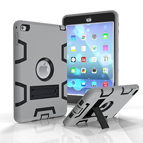 - iPad Mini 4 Case, Dooge Three Layers PC&Silicon Armor Defender Heavy Duty Shockproof Rugged Hybrid Full Body Protective Case with Kickstand for Apple iPad Mini 4 (7.9 Inch)