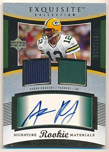 a7f6deff BIGBOYD SPORTS CARDS Aaron Rodgers 2005 UD Exquisite Rookie Autograph Dual  Jersey Patch AUTO #172/199