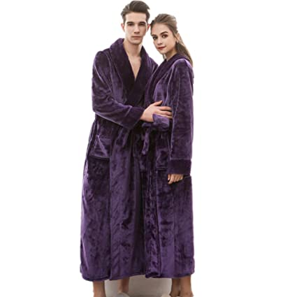 6a5fa60e2d Women s Men s Full Length Fleece Long Shawl Collar Robe Plus Size ...