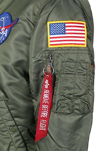 Greengreen Logo de VF Verde 1 NASA Industries Hombre bombardero chaqueta MA Alpha 17AwpPZq