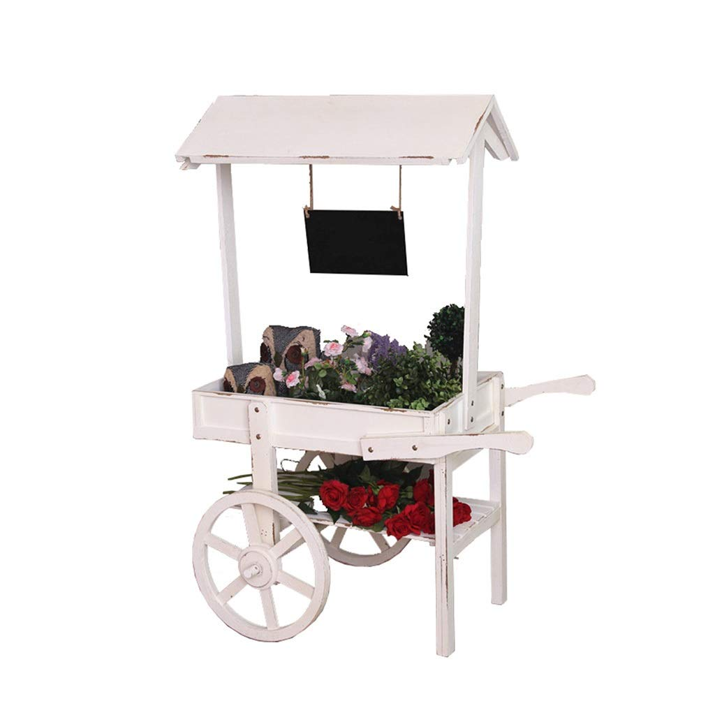 Flower Stand Plant Stand Advertising Tea Shop Plant Stand Indoor Roller cart Living Room Table Rack (Color : White, Size : 5636.5121cm) by Flower Stand