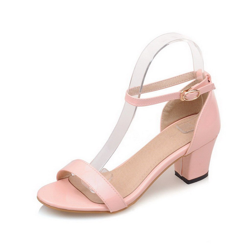 WeiPoot Women's Solid PU Kitten Heels Open Toe Buckle Sandals, Pink, 35