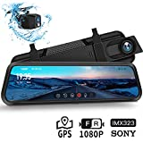 Dash Cam, DuDuBell 10' Mirror Dash Cam with Reverse Assistance, Backup Camera Dual 1080P External GPS, Front and Sony IMX323 Rear Camera with Night Vision IPS Touch Screen Wide Angle HDR+
