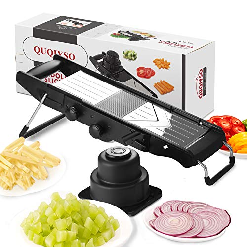 QUQIYSO Mandoline Stainless Steel V-Blades Adjustable Thickness,Vegetable Slicers Food Dicer Cutter Chopper Grater & Julienne with Safety Guard